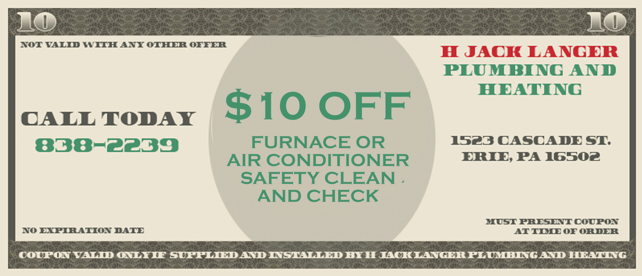 $10 Off Furnace Safety Clean and Check