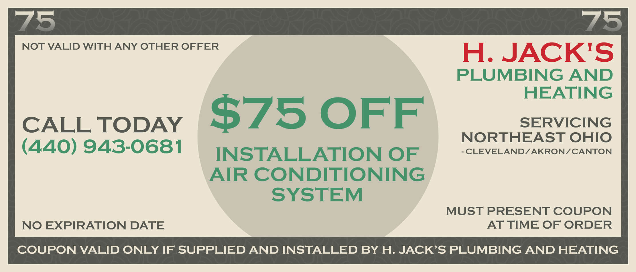 $75 Off Air Conditioning Installation System Coupon